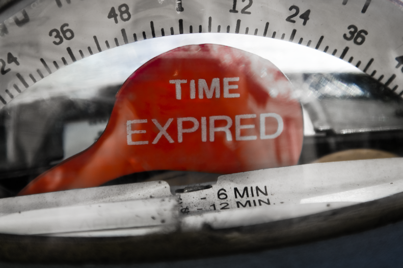 A parking meter that reads time expired